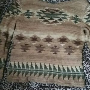 Knit 100% Cotton Tribal Sweater